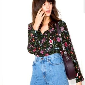 & Other Stories Black Floral Collared Button Down